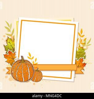 Herbst Hintergrund mit Kürbissen, ahorn Blätter und leeres Blatt Papier Stockbild