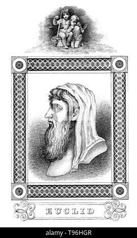 """Euklid (Bedeutung, gute Herrlichkeit, 300 v. Chr.) war ein antiker griechischer Mathematiker, die oft als der """"Vater der Geometrie''. Es ist wenig über sein Leben bekannt. Das Datum und der Ort des Euklids Geburt und das Datum und die Umstände seines Todes sind unbekannt. Keine Ähnlichkeit oder Beschreibung der physischen Erscheinung Euklids vorgenommen, die während seiner Lebenszeit der Antike überlebte. Daher Euklids Darstellung in Werken der Kunst ist das Produkt der Phantasie des Künstlers. Stockbild"""