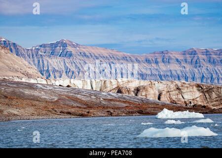 Schöne Aussicht auf die Insel um Alkhornet in Svalbard Stockbild