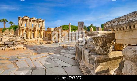 Bibliothek von Celsus, Ephesus, Izmir, Türkei Stockbild
