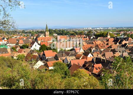 Frankreich, Haut Rhin, Turckheim, Elsass Wein Straße, der Kirche Stockbild