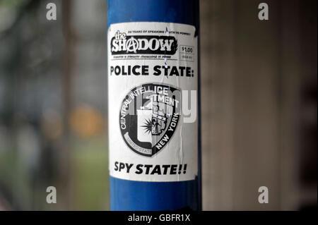 New York Polizeistaat Aufkleber Stockbild