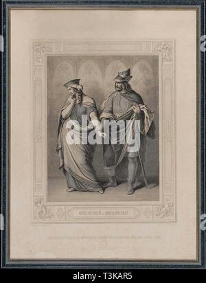 Das Nibelungenlied. Gunther und Brunhild, 1860. Private Sammlung. Stockbild