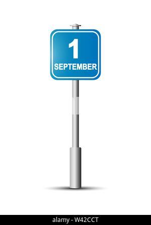 Schild mit der Aufschrift September 1. blaues Schild mit der Aufschrift 1. September auf der Pole. Stockbild