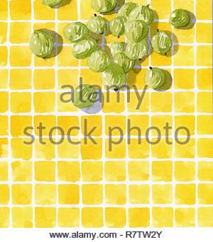 Aquarell von frischen Stachelbeeren auf Fliese Muster überprüft Stockbild