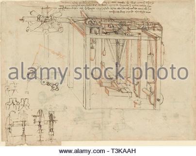 Maschine gold Folie zu produzieren, ca 1493. In der Sammlung der Veneranda Biblioteca Ambrosiana gefunden. Stockbild