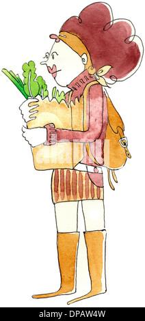 Ein Aquarell von einer Frau mit einer Tasche von Lebensmitteln Stockbild