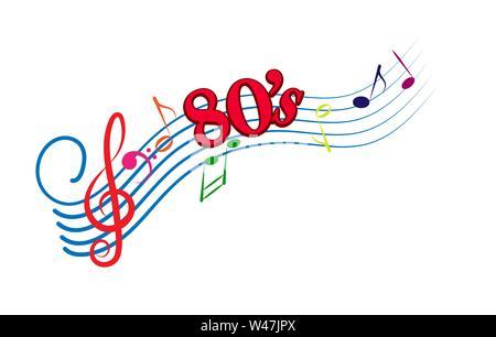 Musik 80. Abbildung für Design und Dekoration. Flache Bauform. Stockbild