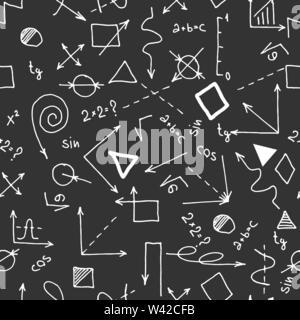 Nahtlose Muster auf Schule Thema auf schwarzen Hintergrund. Schule nahtlose Muster. Ideale Lösung für Gewebe, Verpackung, Textil, Design und Dekoration. Stockbild