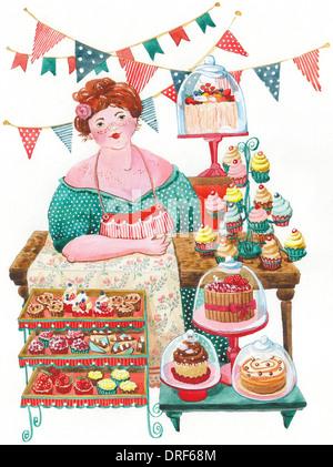 Eine Frau verkauft Kuchen Stockbild