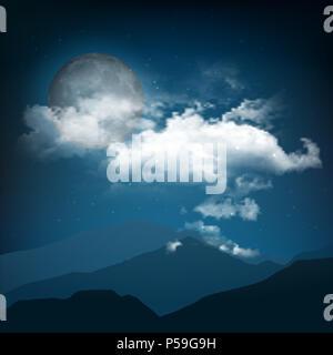 Halloween style Nacht Landschaft mit Mond und Wolken Stockbild