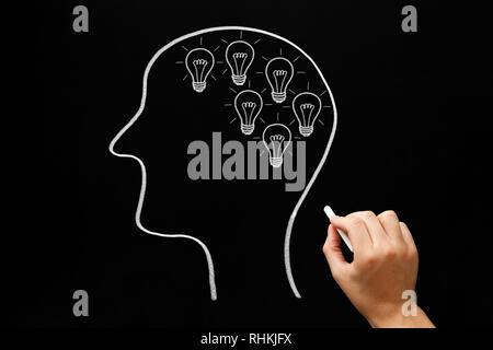 Handzeichnung menschlichen Kopf schaffen viele Ideen mit Glühbirnen mit weißer Kreide auf Tafel dargestellt. Kreativität, Innovation oder Unternehmer Stockbild