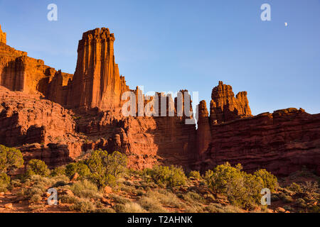 FISHER TOWERS BEI SONNENUNTERGANG, Moab, UT, USA Stockbild