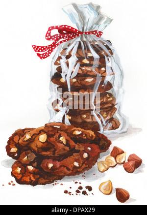 Ein Stapel von Cookies mit einer Schleife umwickelt Stockbild