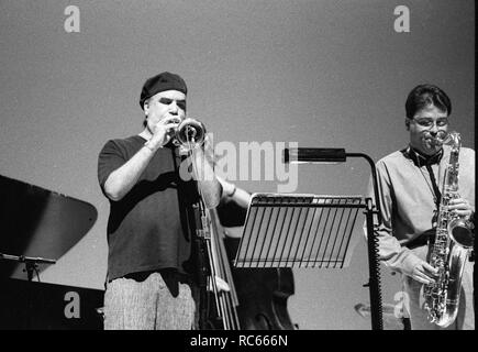Randy Brecker, Brecon Jazz Festival, Brecon, Wales, August 1998. Stockbild
