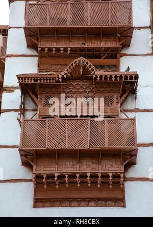 Holz- mashrabiya eines alten Hauses in al-Balad Viertel, Mekka Provinz, Jeddah, Saudi-Arabien Stockbild