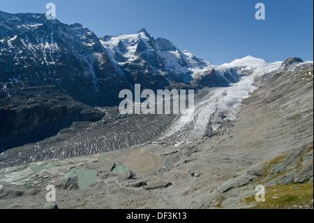 Österreich/Nationalpark Hohe Tauern - Auswirkungen des Klimawandels: Gletscher schmelzen. pasterze Glacier unter dem Berg Großglockner. Stockbild