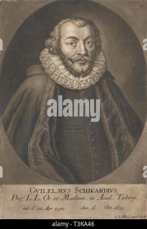 Portrait von Wilhelm Schickard (1592-1635). In der Sammlung der Eberhard Karls Universität gefundenät TüBingen. Stockbild