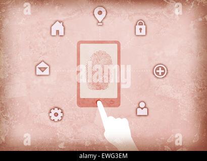Abbildung Bild des Benutzers Zugriff auf Fingerabdruck-scanner Stockbild