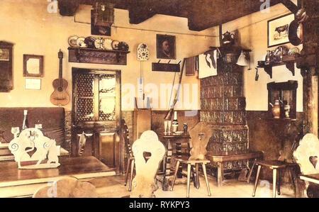 Stühle in Deutschland, Kachelöfen in Deutschland, Esszimmer in Deutschland, 1913, Meißen, Bauernhäusl, Original Bauernstube Stockbild