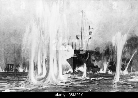 9 1914 8 28 A1 E Naval Battle August 1914 Holz ger 1. Weltkrieg Krieg auf hoher See Naval battle auf Helgoland 28 Stockbild