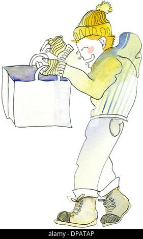 Ein Aquarell von einem Mann auf der Suche durch eine Einkaufstasche Stockbild