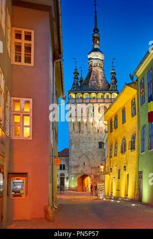 Sighisoara Altstadt am Abend, Siebenbürgen, Rumänien Stockbild