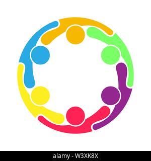 Teamarbeit. Eine Gruppe von sechs Personen bilden einen Kreis. Stockbild