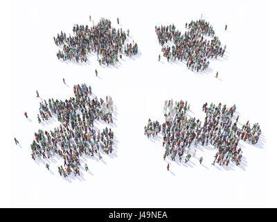 Große Gruppe von Menschen bilden eine Puzzle-Symbole - 3D-Illustration Stockbild