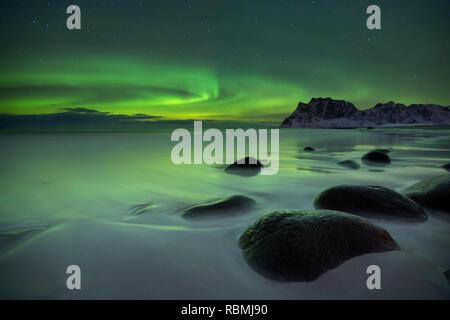 Die Aurora Borealis über Uttakleiv Strand auf den Lofoten in Nord-Norwegen im Winter. Stockbild