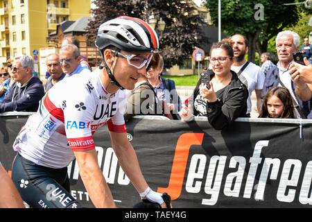 Valerio Conti von Italien und UAE-Team Emirates während der 102. Ausgabe des Giro d'Italia 2019 gesehen, Stufe 13 eine 196 km Etappe von Pinerolo zu Ceresole Reale (Lago Serrù) 2247 m. Stockbild
