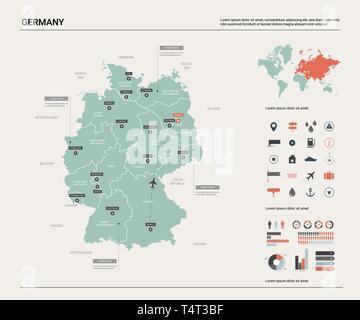 Vektor Karte von Deutschland. Hoch detaillierte Landkarte mit Abteilung, Städten und der Hauptstadt Berlin. Politische Landkarte, Weltkarte, infografik Elemente. Stockbild