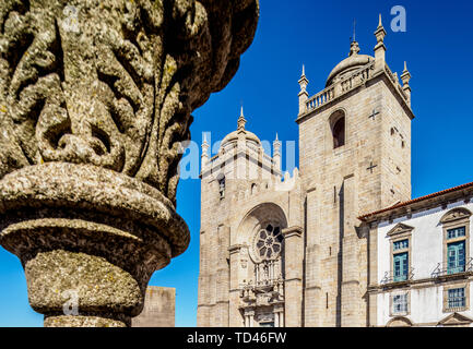 Se Kathedrale, Pelourinho Platz, Porto, Portugal, Europa Stockbild