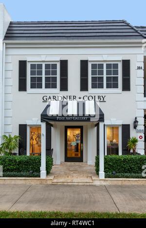 Vordere äußere des Gardner-Colby Fine Art Gallery, Naples, Florida, USA Stockbild