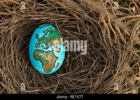 Erde gemalt auf ein Ei in einem Vögel nisten. Stockbild