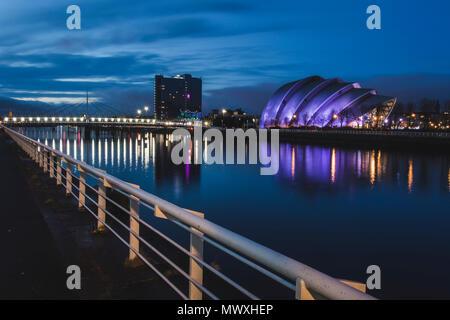 SEC Gürteltier, Fluss Clyde, Glasgow, Schottland, Großbritannien, Europa Stockbild