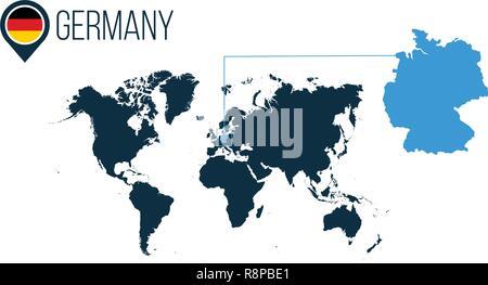 Deutschland Ort moderne Vektorkarte für Infografiken. Alle Länder der Welt ohne Namen. Deutschland Fahne in der Karte, PIN oder Marker. Vektor illustrati Stockbild