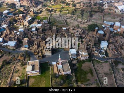 Luftaufnahme von Stein und Lehm Häuser mit Schiefer in al-Khalaf Dorf, Asir Provinz, Sarat Abidah, Saudi-Arabien Stockbild