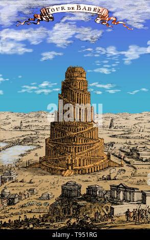 Turm von Babel Kupferstich von Rigobert (1630-1706), ein französischer Kartograph und Ingenieur. Seine Beschreibung de L'Universum enthält eine Vielzahl von Informationen, einschließlich Star Maps, Karten der alten und der modernen Welt, und ein Überblick über die Sitten und Gebräuche, Religion und Regierung der vielen Nationen in seinem Text enthalten. Nach dem Volk der Erde zu Genesis einen Turm in den Himmel zu Maßstab gebaut. Stockbild