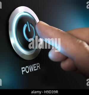 Finger zu drücken Sie die POWER-Taste auf dem Computer. Composite zwischen einem Bild und einem 3D-Hintergrund Stockbild