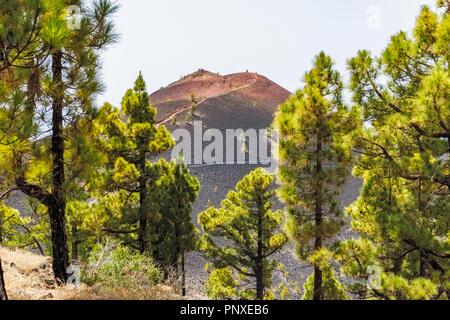 Vulkanische Landschaft entlang der Ruta de los Volcanes, schönen Wanderweg über die Vulkane, La Palma, Kanarische Inseln Stockbild