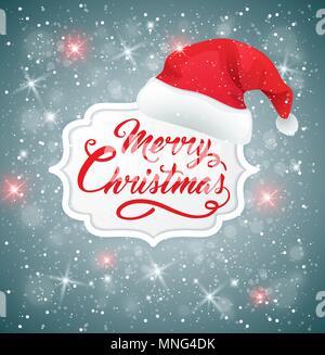 Vektor Weihnachten Hintergrund mit Hut von Santa Claus. Frohe Weihnachten Schriftzug Stockbild