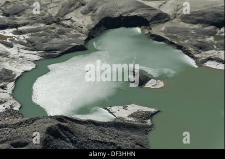 Österreich/Nationalpark Hohe Tauern - Auswirkungen des Klimawandels: Gletscher schmelzen Schmelzen Wasser See unter pasterze Glacier. Stockbild