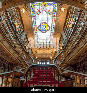 Berühmte Buchhandlung Lello, Interieur, Treppen, Decken, Porto Portugal Stockbild