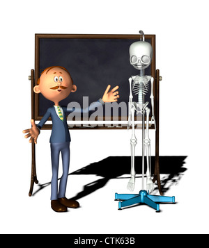 Cartoon-Figur-Lehrer mit Board mit Skelett Stockbild