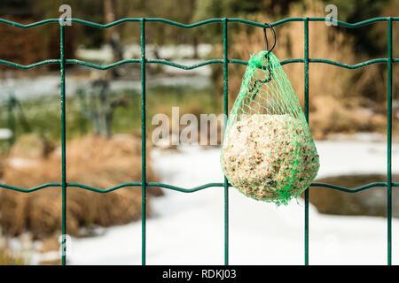 Detail der Nahrung für Vögel hängend an einem Zaun, damit Sie im Winter etwas zu Essen haben kann. Stockbild