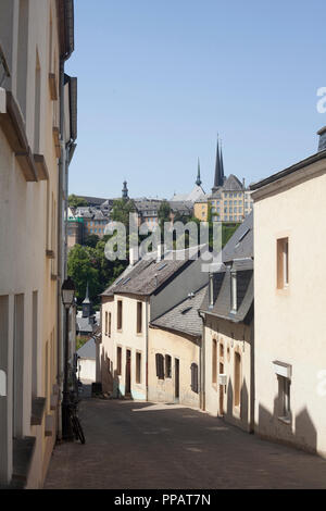Altes haus Fassaden, untere Stadt Wengen, der Stadt Luxemburg, Luxemburg, Europa ich alte Hausfassaden, Unterstadt Grund, Luxemburg-Stadt, Luxemburg, Europa I Stockbild
