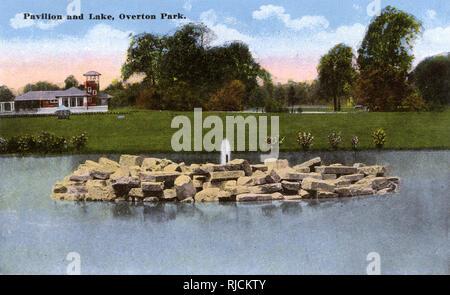 Pavillon und See, Overton Park, Memphis, Tennessee, USA. Stockbild
