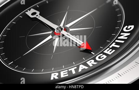 3D Abbildung eines Kompasses mit Nadel zeigt das Wort retargeting auf schwarzem Hintergrund. Online-Werbung und Stockbild