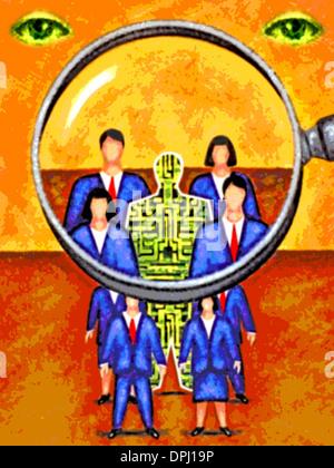 Blick durch eine Lupe auf eine Gruppe von Geschäftsleuten Stockbild